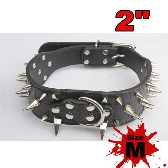 1 pcs Spiked Dog Collar 2 Feet Wide Spiked Studded Soft Leather Dog Collars PitBull Mastiff Size M For Bulldog Pets Supplies #Affiliate