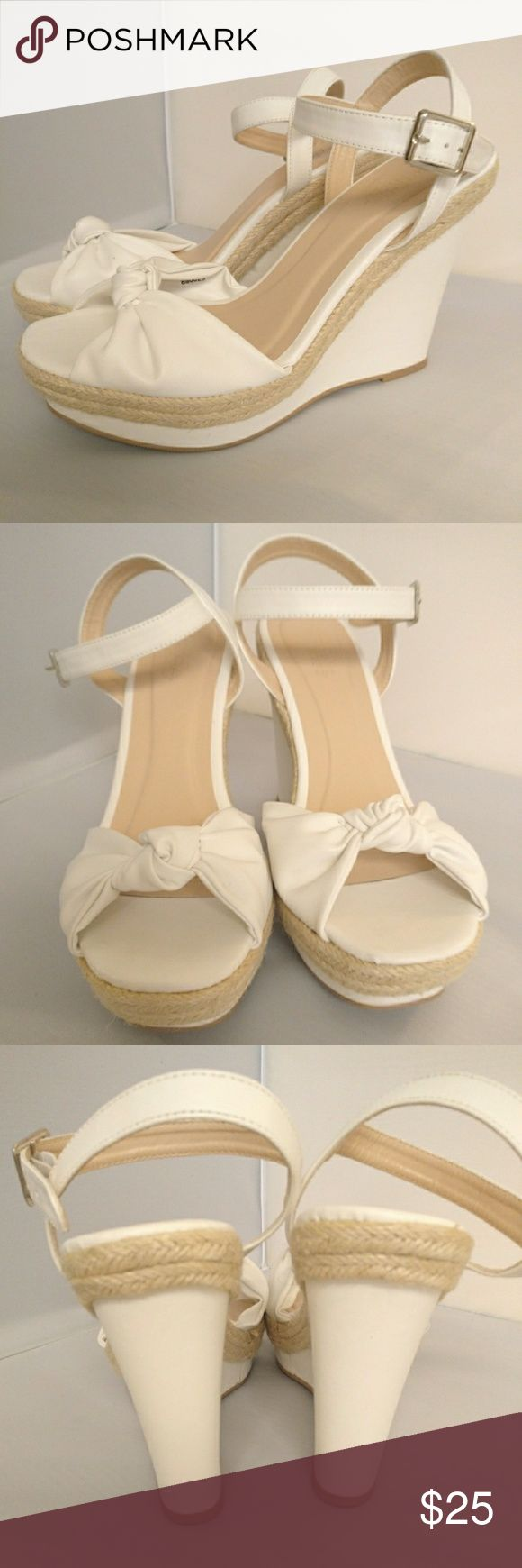 Charlotte Russe White Espadrille Wedges Charlotte Russe White Espadrille Wedges in size 8. New, Worn once for photoshoot. Charlotte Russe Shoes Wedges