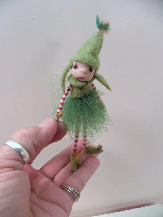 ooak poseable SWEET little girl CHRISTMAS ELF by DinkyDarlings