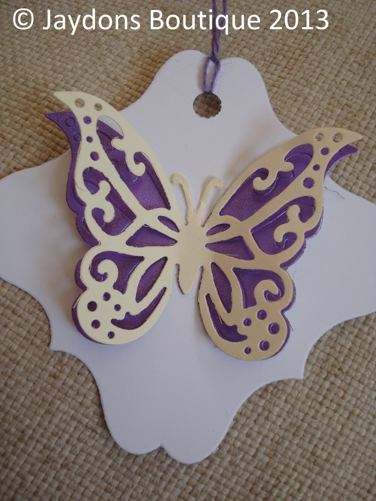 Beautiful White, Purple and Ivory Double Butterfly Tags.  All colours available x