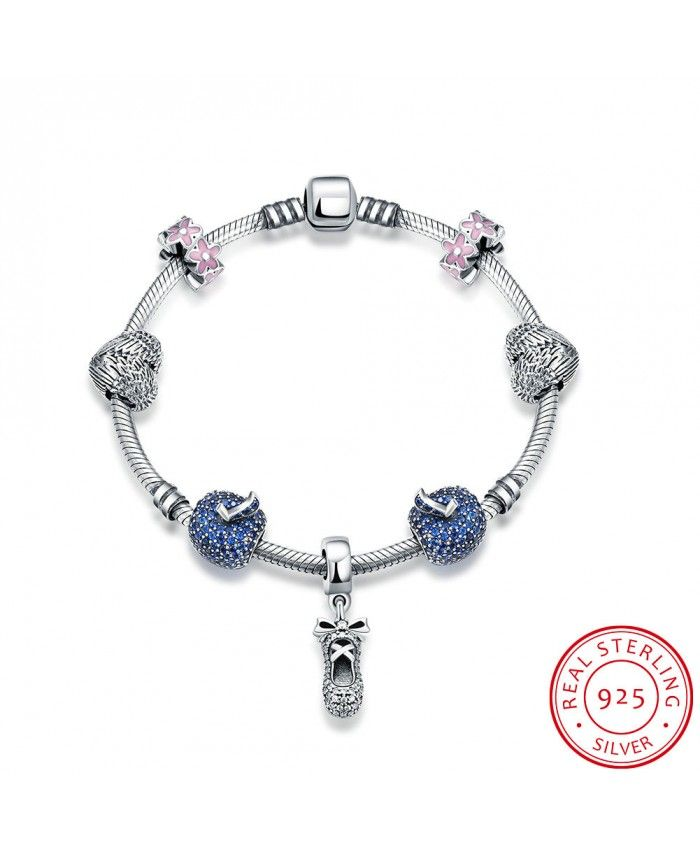 New Fashion Blue Charm Bracelet Have Shoe with Bow Pendant