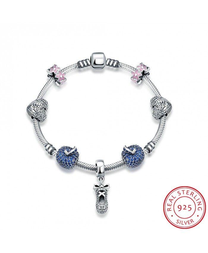 New Fashion Blue Charm Bracelet Have Shoe with Bow Pendant