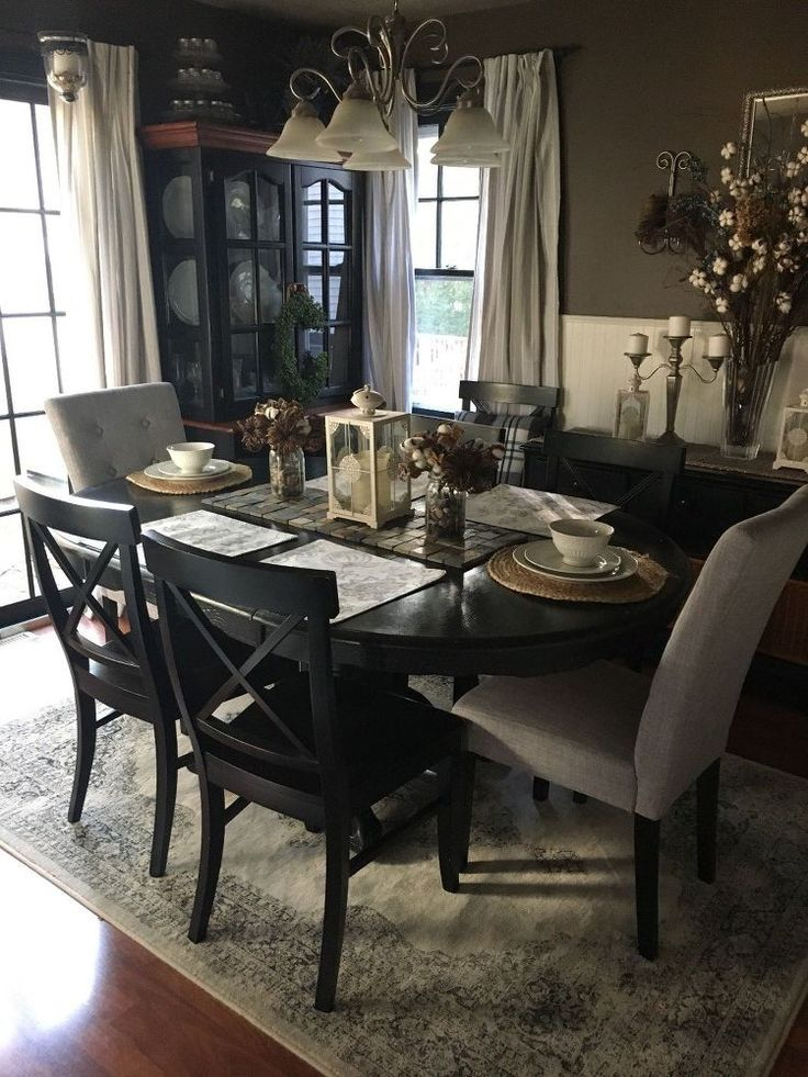 Our fall dining room has a neutral color pallet of Grey, tan, black white and cream with a hint of blue and a touch of green. Black chairs from Pottery Barn, Gr…