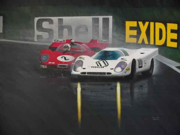 Porsche 917 vs Ferrari 512, BOAC 1000, 1970. www.kieranrobertsart.com