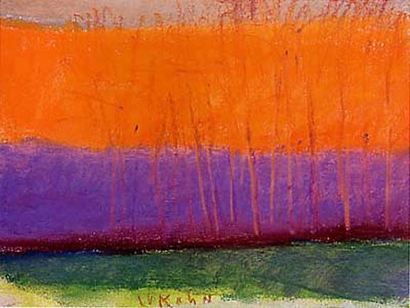 Wolf Kahn (b1927) is a German-born American painter. Kahn is known for his combination of realism and Color Field, and known to work in pastel and oil paint. He studied under Hans Hofmann, and also graduated from the University of Chicago.