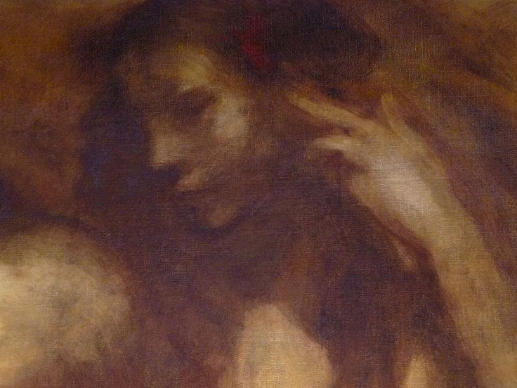 "CARRIERE Eugène,1901 - Baiser du Soir (Avelines) - Detail 5  -  TAGS / art painter peintre details détail détails detalles painting paintings peintures ""peinture 19e"" ""19th-century paintings"" tableaux Saint-Cloud Museum France ""jeune femme"" ""young woman"" femme woman girl ""young girl"" fille ""jeune fille"" daydream "" evening kiss dream portrait motherhood maternité famille family baby bébé kid mother mère breath sein kids enfants enfant child children sommeil sleep portraits female love amour…"