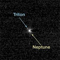 Historic Milestone: Pluto Mission Reaches Neptune's Orbit AUG 25, 2014 // BY IAN O'NEILL: Discovery News NASA New Horizons' view of distant Neptune and Triton. NASA/JOHNS HOPKINS UNIVERSITY APPLIED PHYSICS LABORATORY/SOUTHWEST RESEARCH INSTITUTE