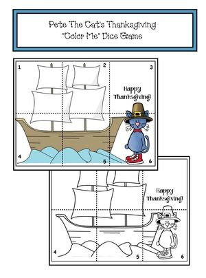 """Pete the Cat activities: FREE Pete the Cat's Thanksgiving """"color me"""" puzzle dice game. Includes color for a center activity, as well as BW for students to make their own. Nice """"sanity saver"""" activity for the last day before vacation. :-)"""