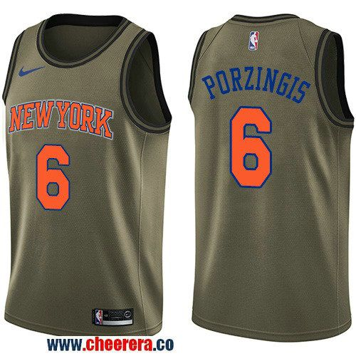 a4ce45b95 Men s Nike New York Knicks  6 Kristaps Porzingis Green Salute to Service  NBA Swingman Jersey
