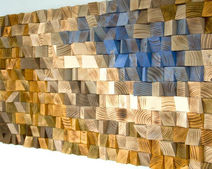 Bois récupéré wall Art, mosaïque de bois, art géométrique, art murale en bois - « Rivière de combat »