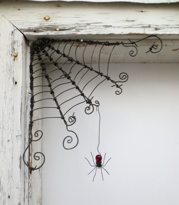 "Czechoslovakian Red Spider Dangles From 12"" Barbed Wire Corner Spider Web Made…"