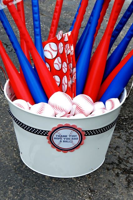 "Take home bat and ball favors (""Thank You!  Hope you had a ball!""):  Kara's Party Ideas"