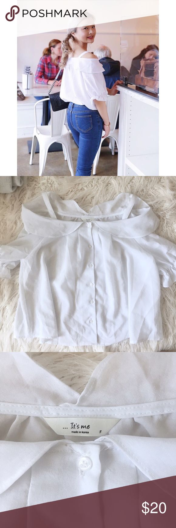 Korean CHUU Strapped Off shoulder Blouse OS $50 Korean CHUU OFFICIAL Strapped Off shoulder Blouse  Condition: Like new, worn once only Color:White Size: Free size, would fit XS-S Retail Price US$50  Listed under Nasty Gal just for more exposure (: Nasty Gal Tops Blouses