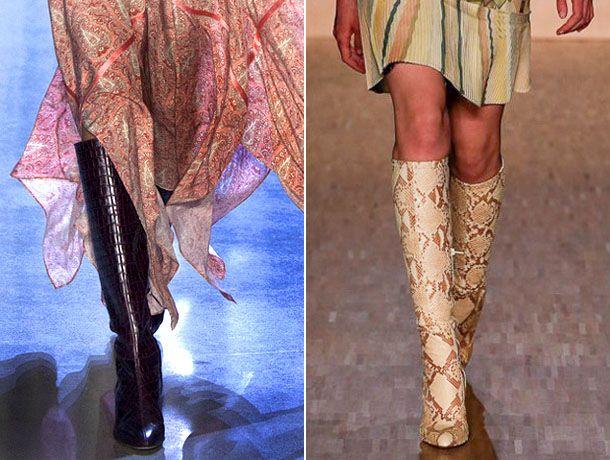 Модные сапоги из змеиной кожи 2017