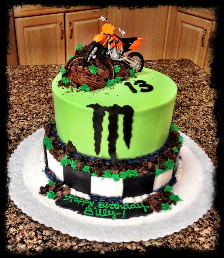 Dirt bike monster energy cake