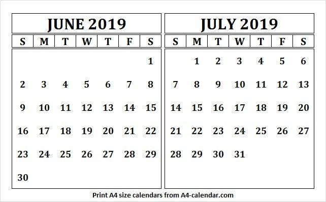 Template Calendar June And July 2019 June 2019 Calendar June
