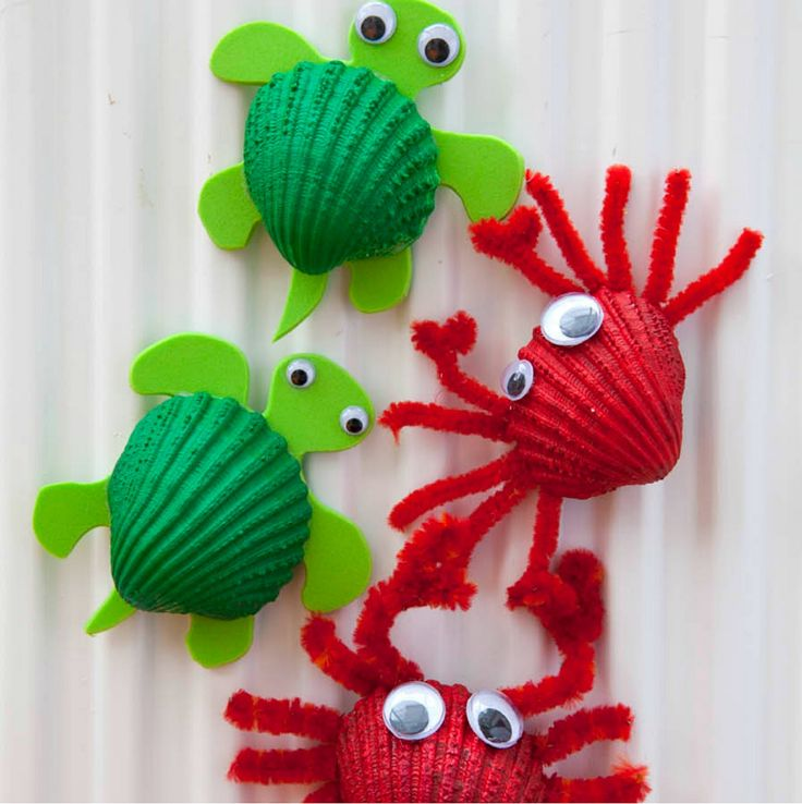 Seashell turtles and crabs #preschool #animalcraft #kidscraft
