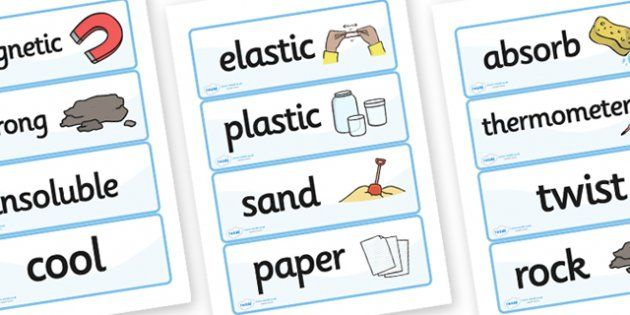 Materials Vocab Cards - materials, materials word cards, material properties word cards, materials key words, classifying materials, ks2 science word cards