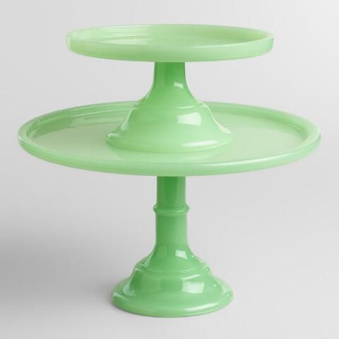 Jade Colored Glass Pedestal Stand | World Market