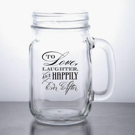 96pcs | Love & Laughter - Personalized Custom Mason Jar Wedding Favors on Etsy, $360.00