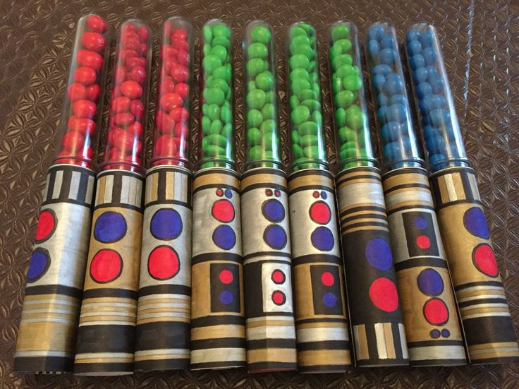 M&M light sabers that I made for my sons Star Wars birthday party!