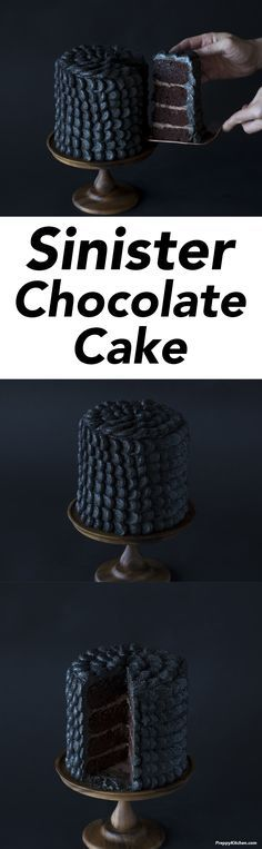 Sinfully delicious or pure evil?? This chocolate cake is coated in delicious black scales giving it a nefarious look that's perfect for Halloween! | Halloween recipes, halloween desserts, Halloween cakes, best cake recipes, creative cakes, holiday cakes