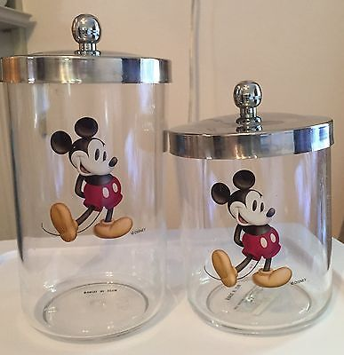 "Mickey Mouse acrylic canisters - SET OF 2 -  6"" & 6"""
