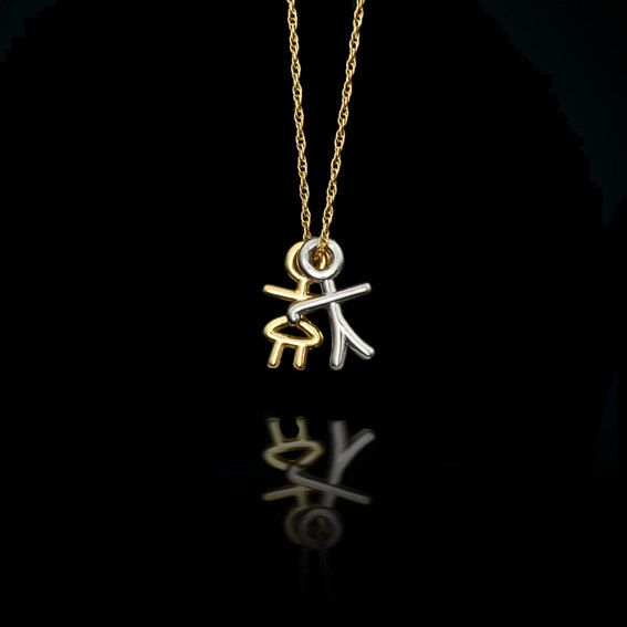 pendant little gold yellow boy i charm children diamond vintage