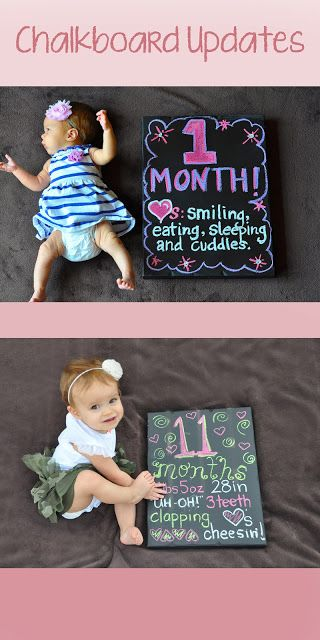 Here is the book we made on Shutterfly for Callie's first birthday! Chalkboard Monthly Updates Book - Make a book for her first birthday with pictures and a note for each month.