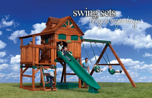 Swing sets my dad built me a crazy swing tree house set for Tree house swing set