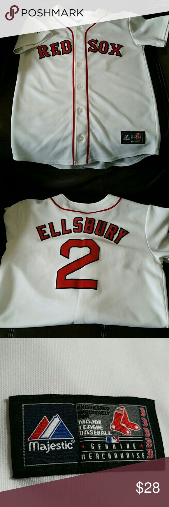 Official Red Sox Jersey.     SALE! Large 14/16 genuine Majestic MLB merchandise.   Jacoby Ellsbury, old but goody in Excellent condition. Majestic Shirts & Tops Button Down Shirts