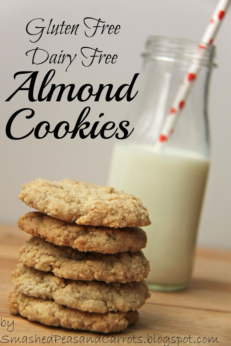 Gluten Free Dairy Free Almond Cookies...these are good. Mix in the food processor so they aren't so crumbly.