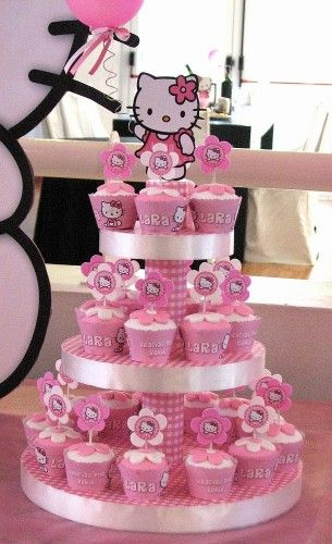 Hello Kitty Cupcakes. Good idea for a girl's birthday.