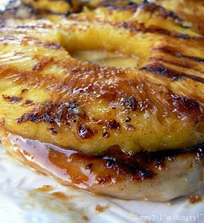 Honey Pineapple Pork Chops (30 minute marinade!) {pork chops,  pineapple in juice,  honey,  mustard,  curry powder,  salt,  pepper, and  hot pepper sauce}