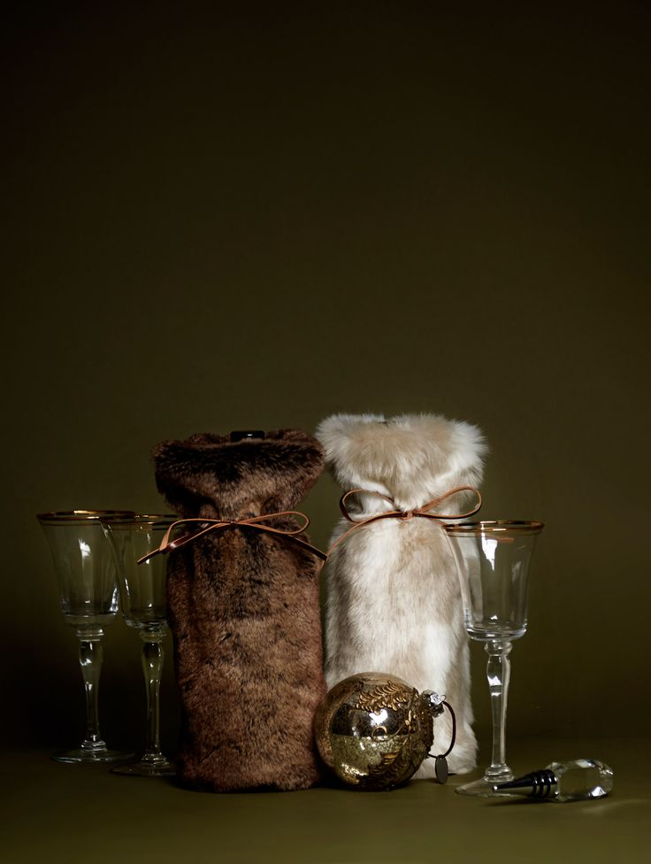 Faux fur wine bags by Paul Costelloe Living