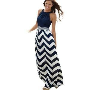 Fashion Sundress Women Dress 2016 New Sexy Summer Long Maxi BOHO Evening Party Stripe Beach Dresses