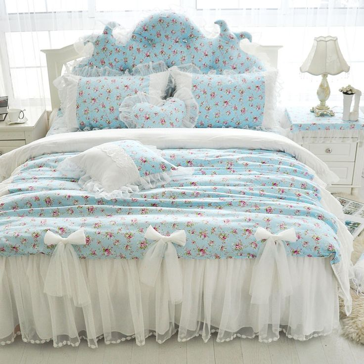 Find More Information about girls home bow bedding 4pcs set pink wedding lace cotton bed skirt blue small flower purple duvet cover free shipping bedding ,High Quality bedding home,China bedding twin Suppliers, Cheap bedding music from Queen King Bedding Set  on Aliexpress.com