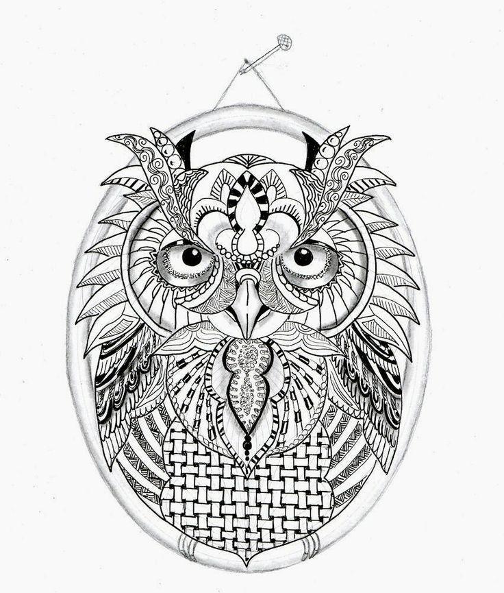 Efie goes Zentangle: owl...uil... van Ben Kwok