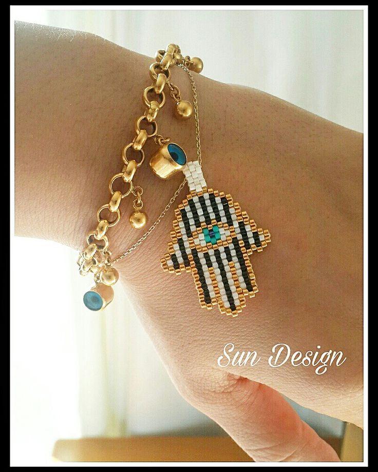 Fatma Ananın Eli #miyuki #beads #hamsa #hand #boncuk #takı #tasarım #peyote #stitch #pattern #fashion #bileklik #kolye #boncuk #kum #moda #aşk #uğur #şans #bereket
