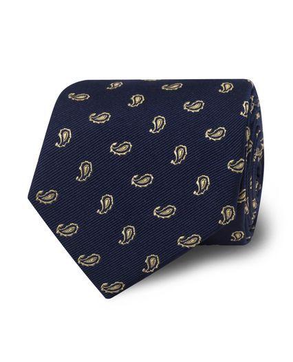 Navy Yellow Small Edge Paisley Silk Tie
