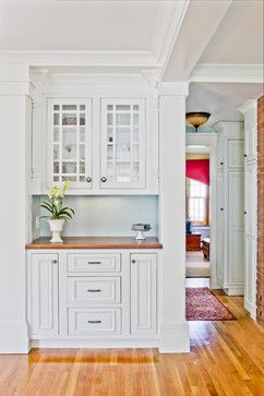 For coffee bar area....except just wide drawers on bottom, and not glass front cabinets. West Acton, MA  Project traditional kitchen