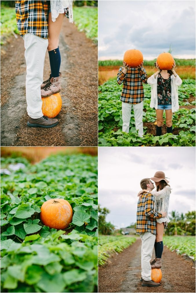 Pumpkin patch engagement session Fall love (Halloween Couples Photography)