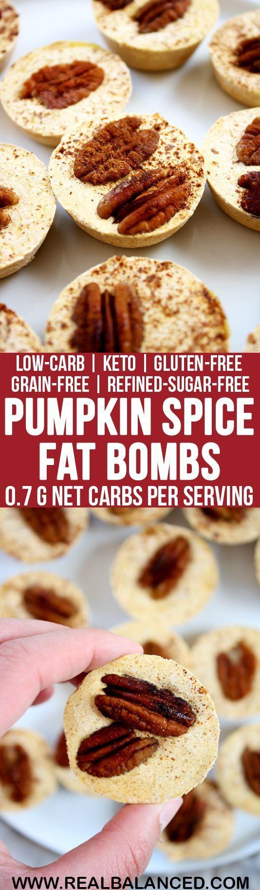 Pumpkin Spice Fat Bombs: low-carb, keto, gluten-free, grain-free, vegetarian, & refined-sugar-free! Less than 1g net carbs per serving!