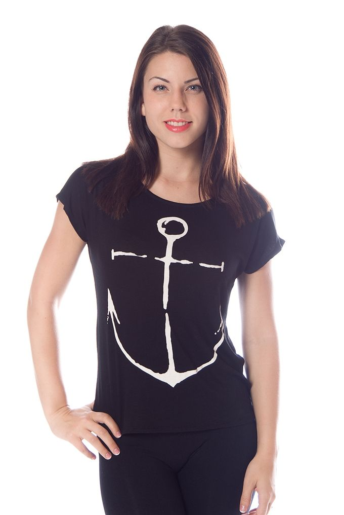 Anchors Away Nautical T-Shirt - Black $14.99