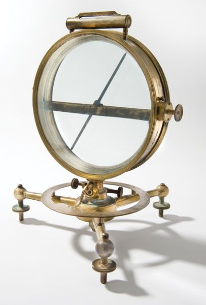 "Dip circles, also known as dip needles or inclinometers, measure slope — a.k.a. ""dip angle"" — with respect to gravity. Used in surveying, mining, and prospecting, dip circles also served as demonstration instruments in physics classes. The Phelps & Gurley Co. of Troy, N.Y., manufactured this brass and glass dip circle around 1848. Dartmouth purchased it in 1862 for 20 dollars."