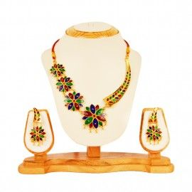 Four piece Phool Pepa Necklace with ear ring  The jewelry is very unique in its design and looks very attractive. There are four pieces of Flower (Phool), the size increasing from top to bottom and with a Pepa; a traditional Assamese musical instrument in the necklace.  #3920/-