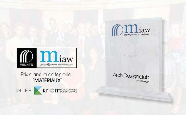 KRION® K-LIFE ganador del premio MIAW en la categoría de revestimientos - Solid Surface