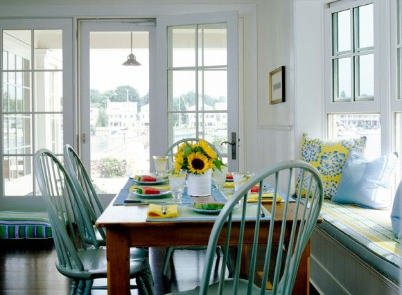 Dining Rooms   Built In Beadboard Window Seat Bench Yellow Blu Striped  Cushion Yellow Blue Pillows Farmhouse Dining Table Teal Blue Windsor Dining  Chairs