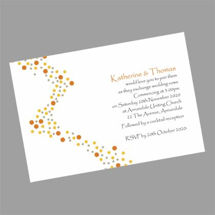 This modern wedding invitation features a river of multi- coloured dots flowing down the left hand side. www.kardella.com