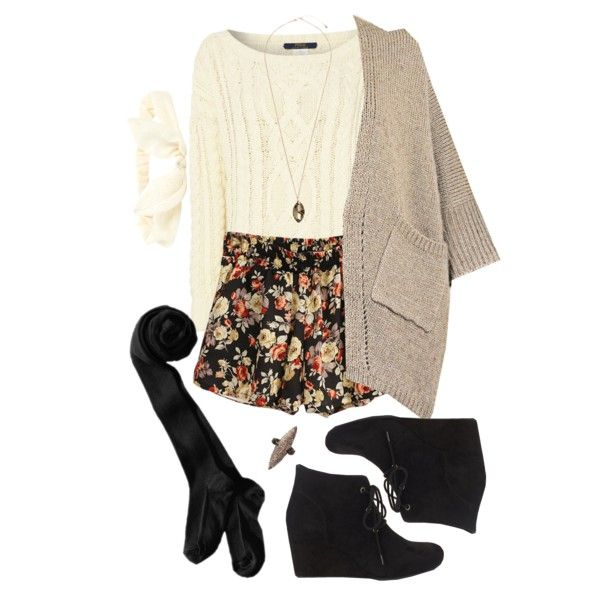 Cardigan floral shorts sweater tights wedge boots cute girly teen winter outfit